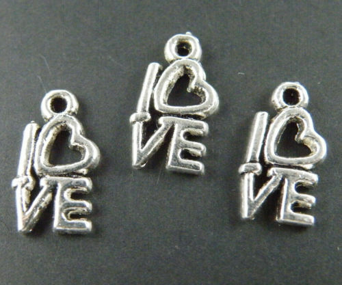 "150pcs Tibetan Silver /""love/"" Heart Charms 14x8mm 299-1"