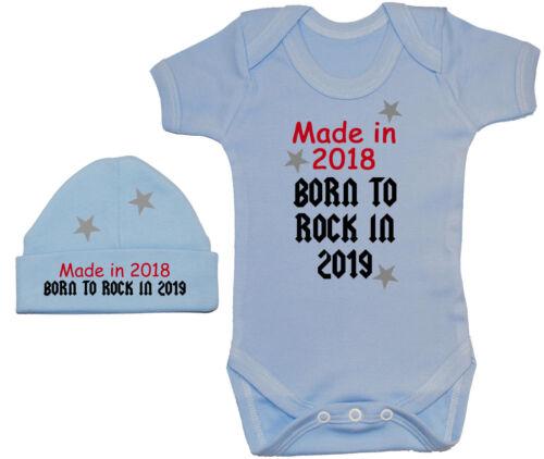 Made In 2018 Born to Rock 2019 Babygrow Romper /& Beanie Hat Cap 0-12m Boy Girl