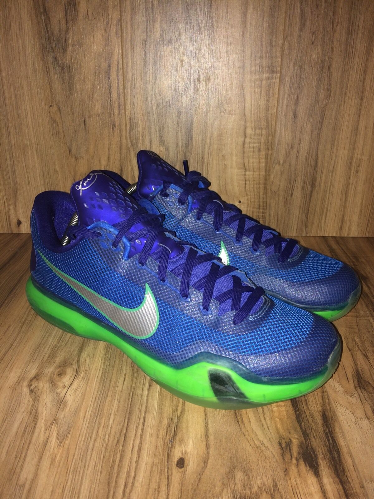 RARENike Kobe 10 X Low Royal Emerald City 705317-402 Green Royal Low Blue Sz 11.5 584376
