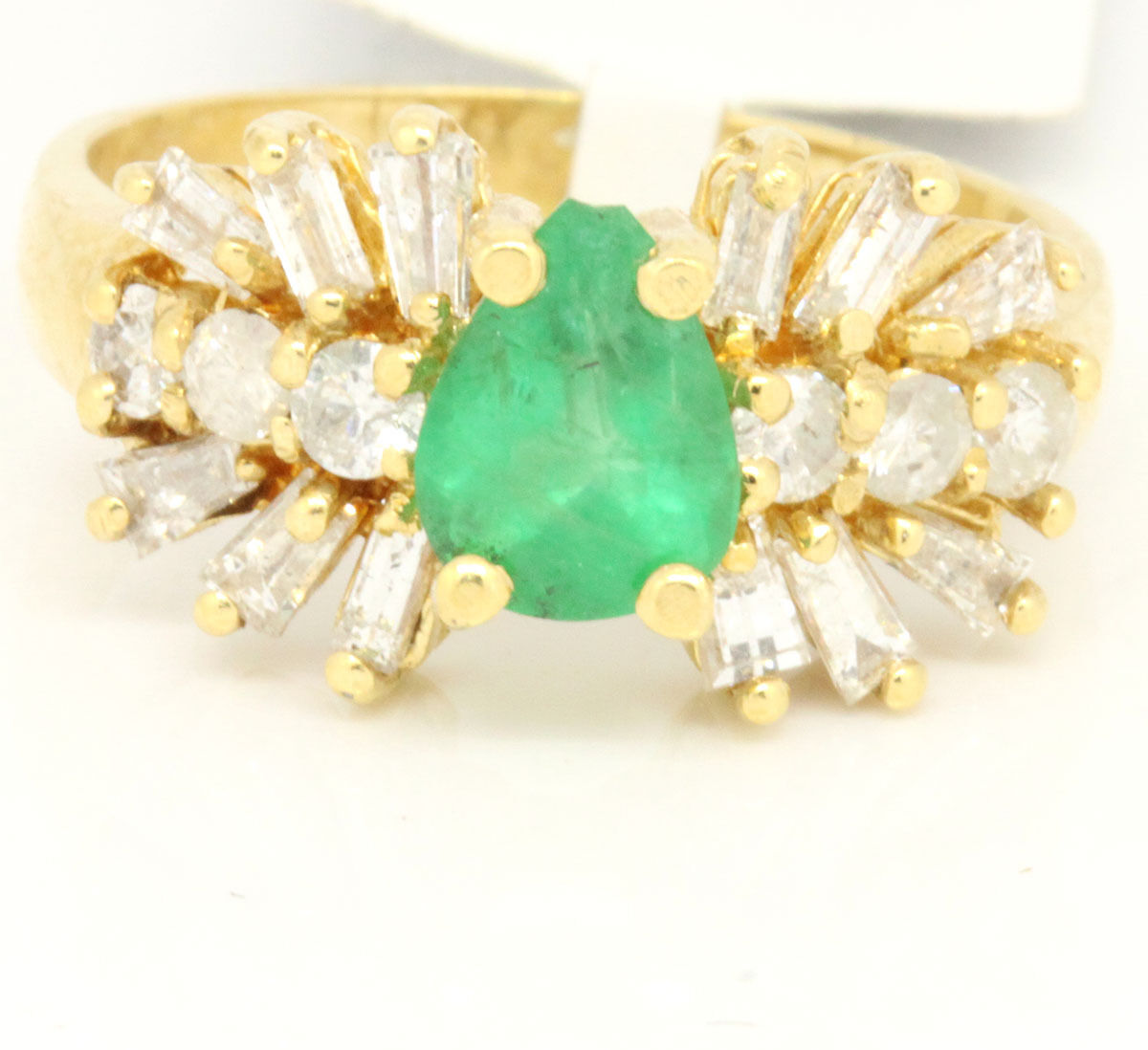 Vintage 14k Yellow gold 1.91tcw Emerald W  Diamonds Solitaire Ring Size 6.5