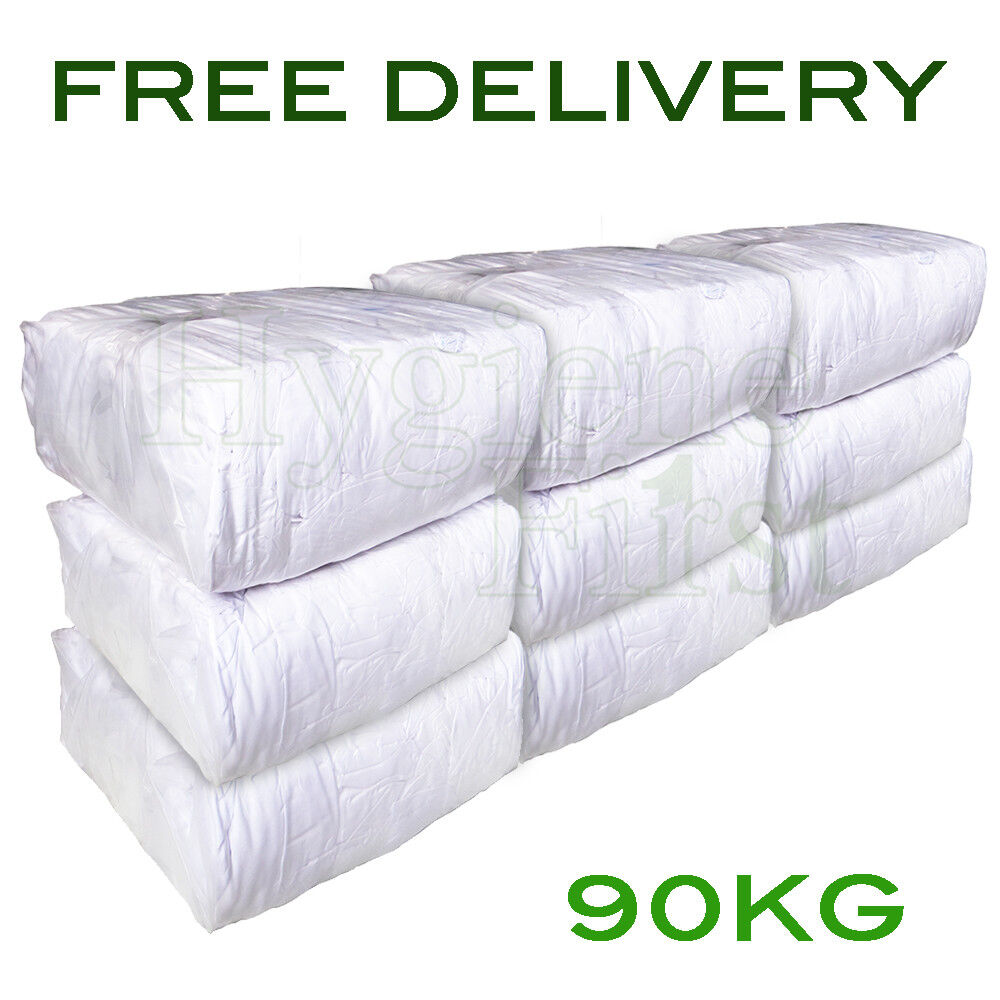 90Kg Bag of Rags 100% Weiß Sheet Cotton wipers - excellent value for money