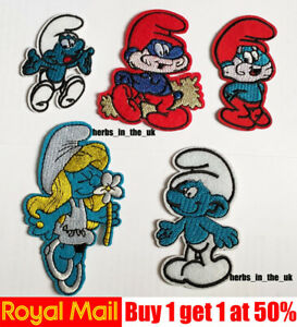 Smurfs-cartoon-characters-Patch-Badge-Iron-On-Sew-On