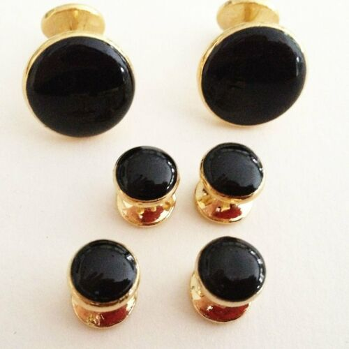 Details about  /Gold Plated Cuff Links /& Stud Set in Black Velvet Gift Box NEW Mens Jewelry Dad