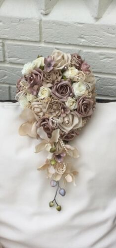 IVORY CREAM MOCHA MINK ROSES COFFEE ORCHID BRIDES BOUQUET WEDDING  FLOWERS PEARL