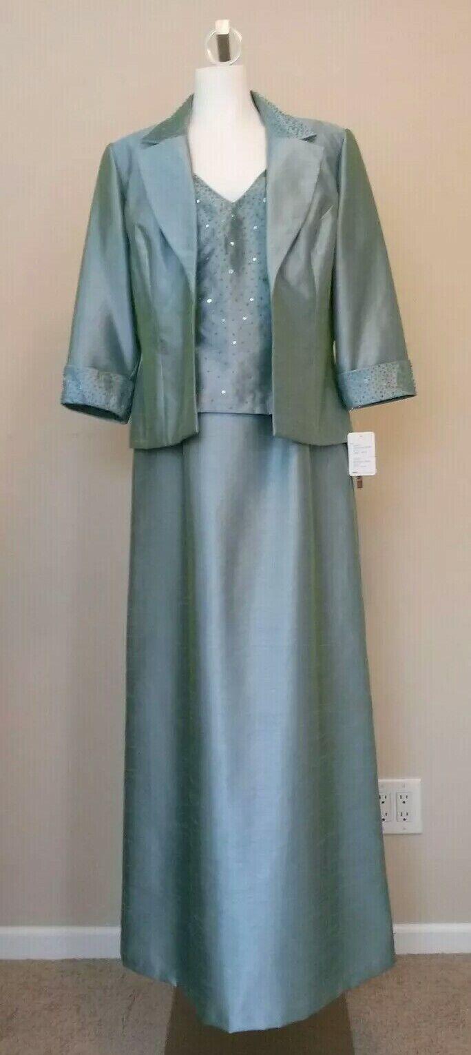 NEW Alex Evenings Blue Long Sleeveless Dress with Jacket Size 12