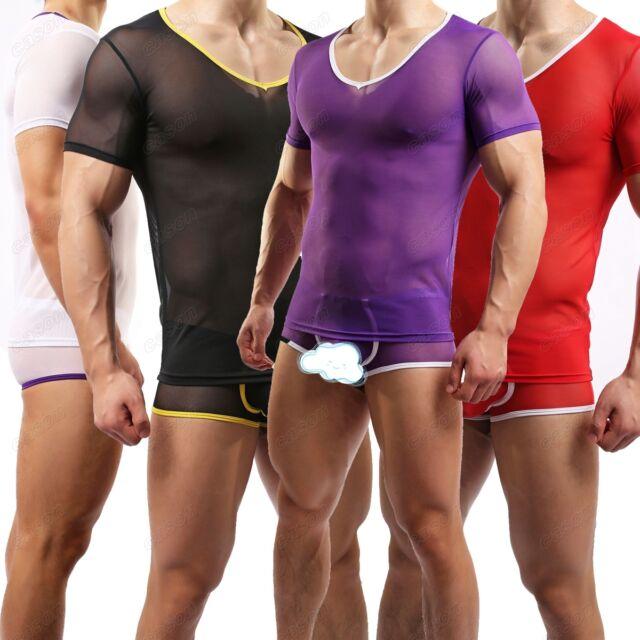 Men's Sexy Sheer Breathable T-shirt Short Sleeve Undershirt Top Size M L XL J1