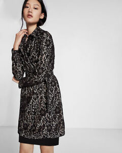 Sz S New 178 Express Trench di Small floreale pizzo nero 8Rq0Ox87