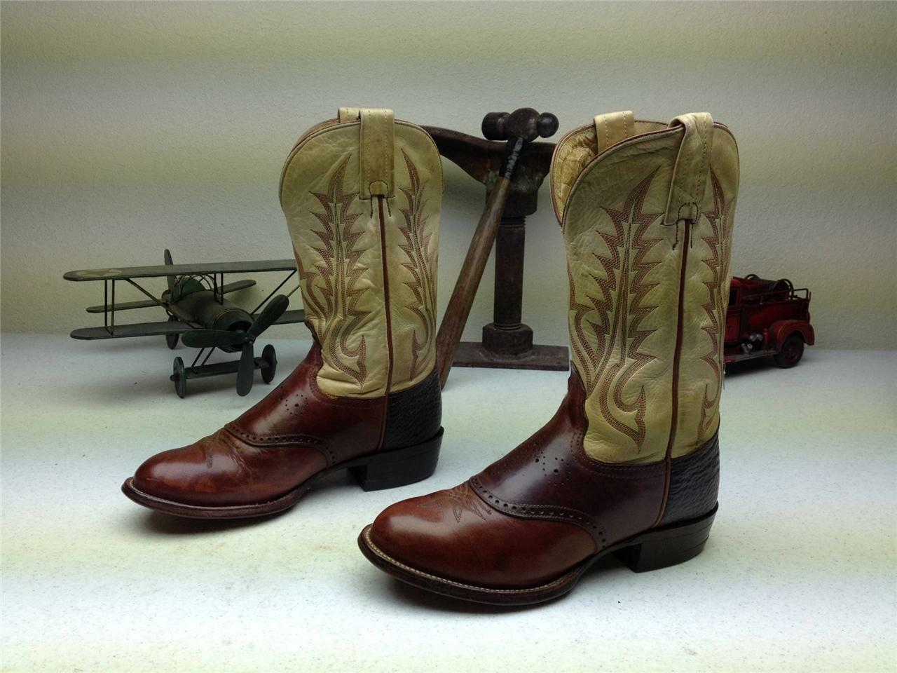 TONY LAMA MADE IN USA BROWN COWBOY WESTERN ROPER RODEO BOOTS SIZE 6 B