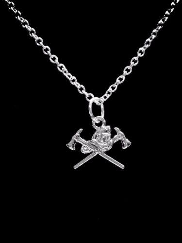 Firefighter Necklace Axe Helmet Fireman Wife Girlfriend Daughter Gift Jewelry