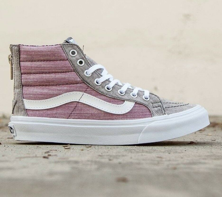 VANS SK8 Hi Slim Zip (Floral Chambray) Gray/True WEISS WOMEN'S 9.5