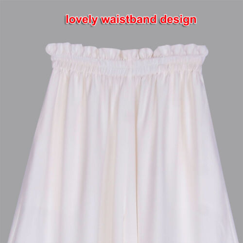 Womens 16mm 100/% Pure Silk Palazzo Pants Wide Leg Trousers Elastic Waist Bottoms