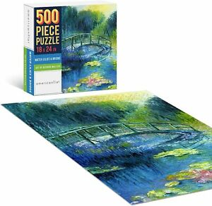 Americanflat 500 Piece Jigsaw Puzzle Educational Learning Game Water Lilies