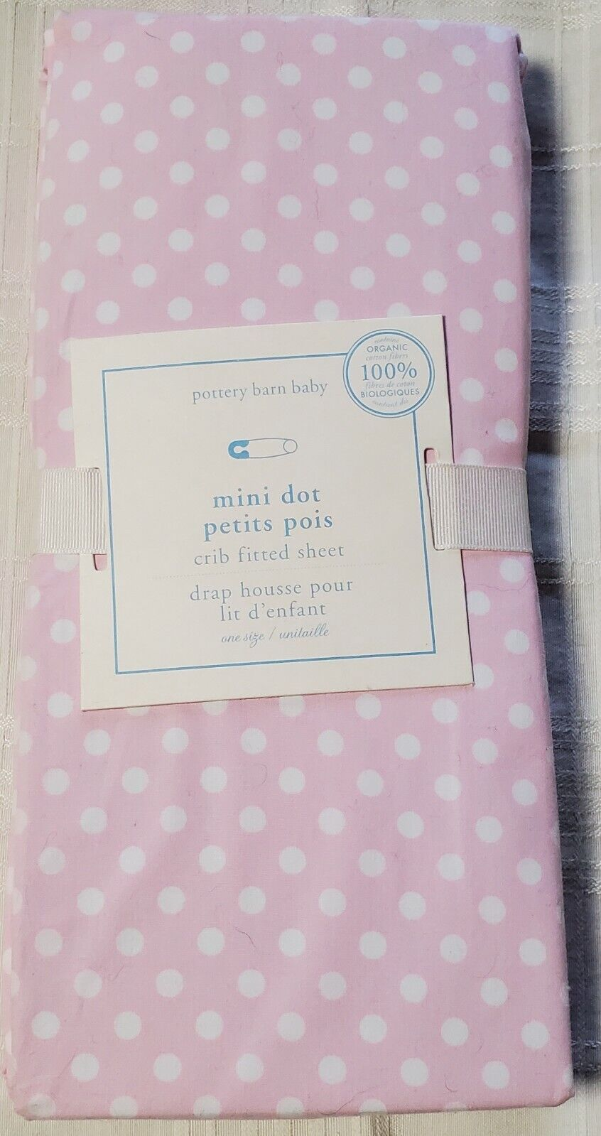 Pottery Barn Kids Pink And White Polka Dot Crib Fitted Sheet. 100% Organic...