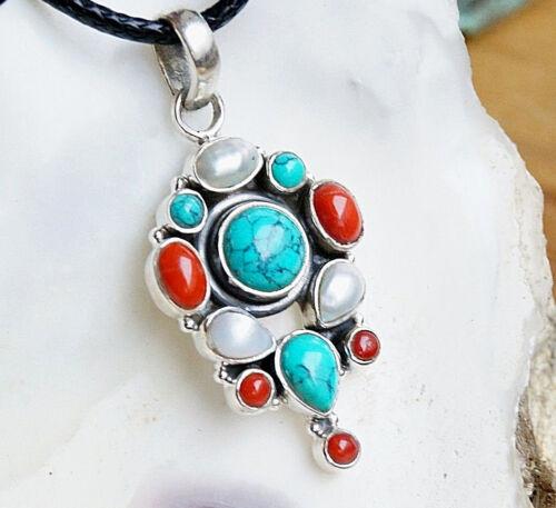 Anhänger 4,5 x 2 cm Handarbeit Kette Silber Türkis Koralle Perle Verspielt Rot