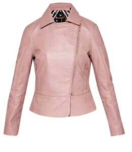 real deal shop for authentic recognized brands Details about NWT Ted Baker London LIZIA Minimal Luxe Leather Biker Jacket  Ted 0 (US2) RT $595