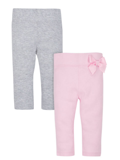 ea0d9d503 Gerber Baby Girls 2 Pack Organic Cotton Pants NEW Size 12 Months Pink Bow,  Grey