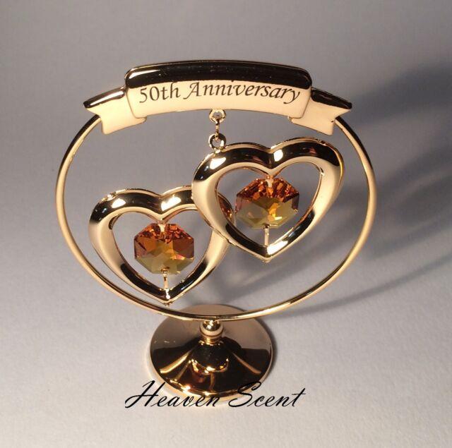 50th Golden Wedding Anniversary Gift Ideas Gold Plated Swarovski ...