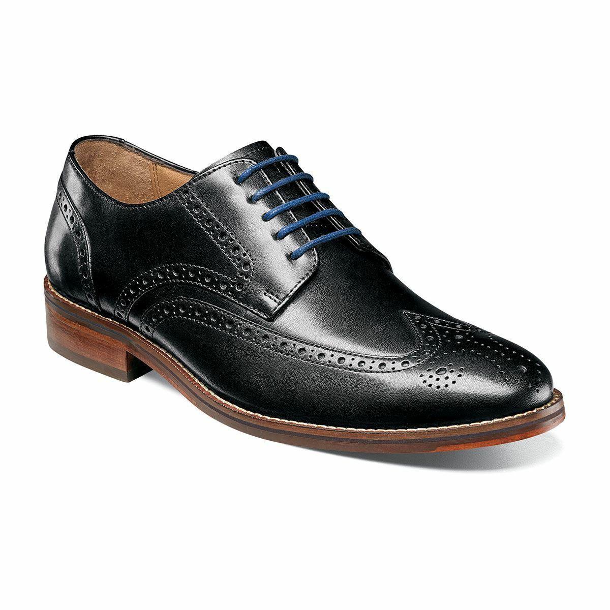 Florsheim Men's Salerno Wingtip Oxford Leather shoes Black 12161-001
