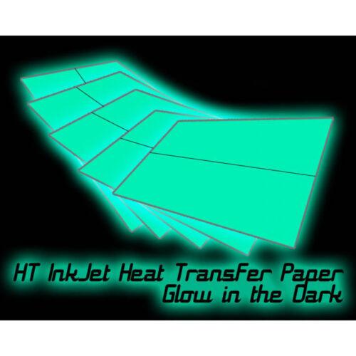 blanco//luz Tela 8.5 X 11 Papel de transferencia de calor de inyección de tinta HT-Brillan en la oscuridad