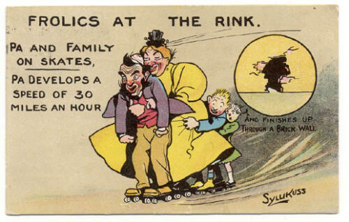 1910 ROLLER SKATING FAST & WILD FAMILY SIGNED SKATE POSTCARD PC5498