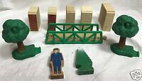 Lot of 10 Wooden Blocks Trees Bridge Train Thomas & Friends the Little Engine