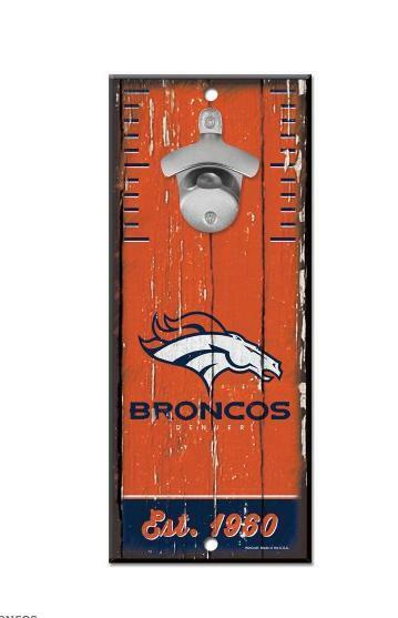 Denver Broncos Parete Apribottiglie Legno Apri NFL Football