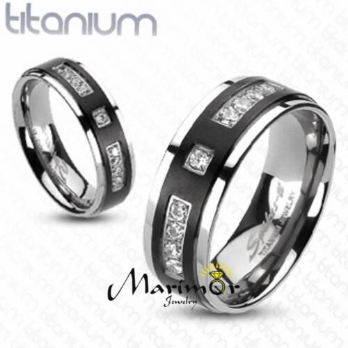 Solid Titanium Two-Tone Black IP Center Simulated Diamond Wedding Band Size 5-13