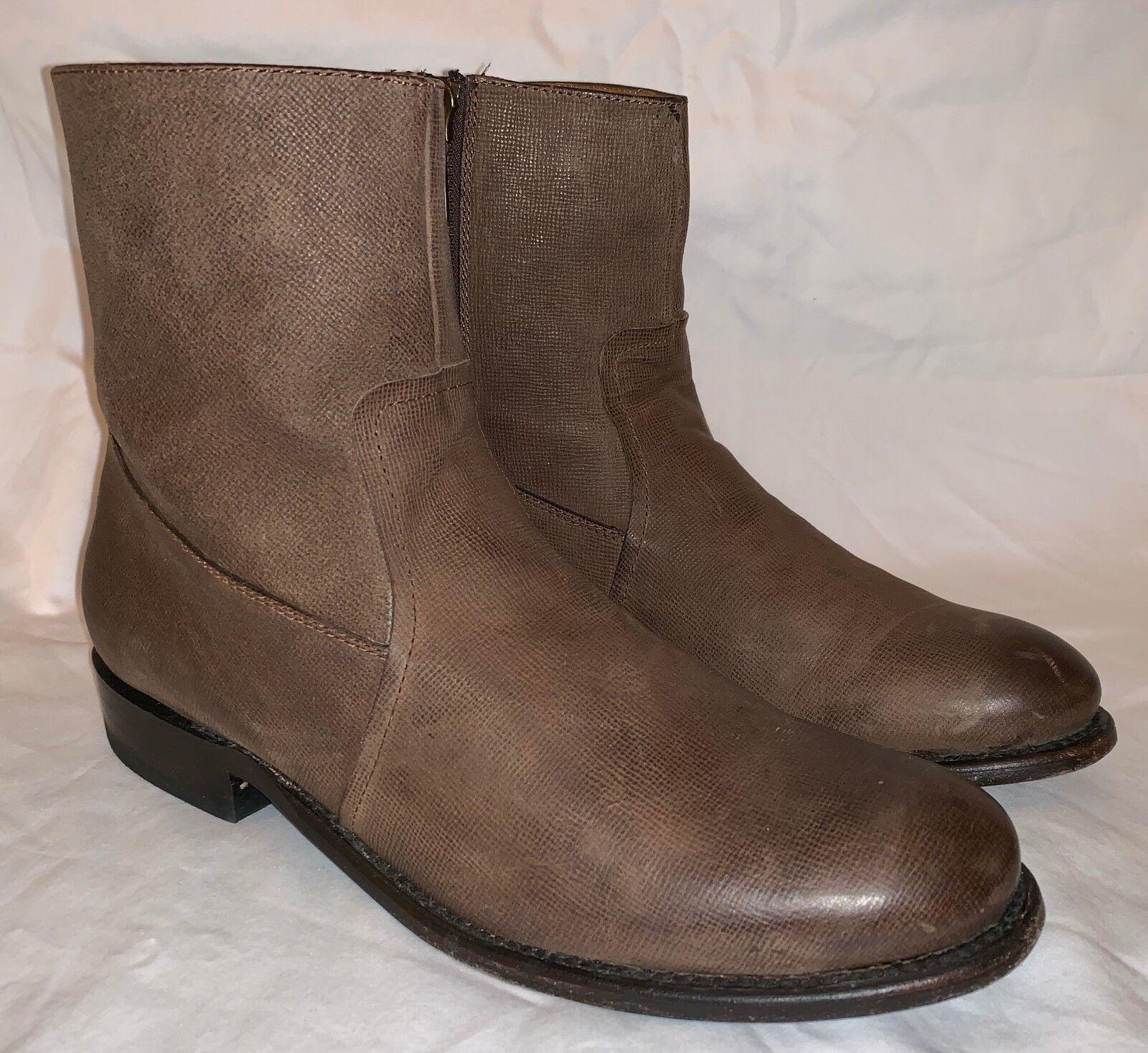 Mens 8.5 J.D. FISK Cowboy Western Brown Leather Side Zip Short Ankle Half Boots