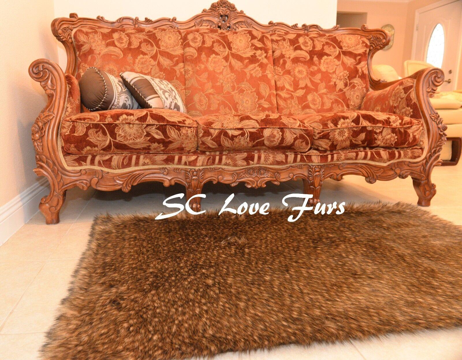 3' x 5'  Plush Mountain Coyote Faux Fur Area Rug Decor  PlushFurEver