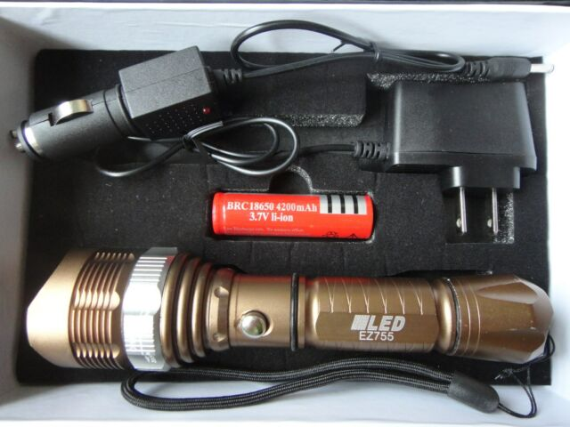 1600 LM Waterproof  XML T6 LED Zoomable 18650 flashlight Torch AC/Car BROWN