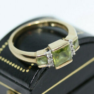 Stunning-Vintage-10K-Gold-2-ctw-Natural-Green-Beryl-Ring-Diamond-Accent-Size-7