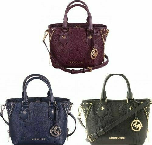 MICHAEL KORS ARIA DAMSON LEATHER SHOULDER BAG