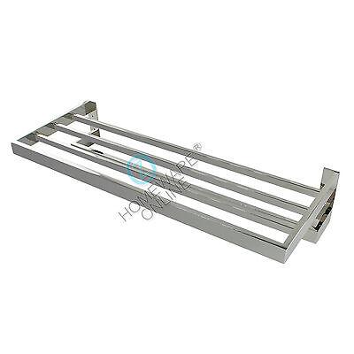 600mm Silver Double Towel Shelf Rack Rail Rack Holder Stainless Steel Bathroom