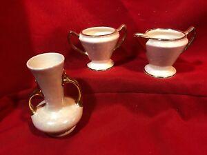 Antique-3pc-set-Sugar-Creamer-and-Vase-Lustre-w-Gold-Trim