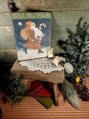 VINTAGE PRIMITIVE VICTORIAN FOLK ART SKATES OLD ST NICK SANTA CHRISTMAS SIGN