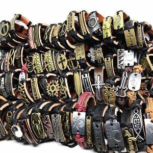 30pcs-lot-Mix-Styles-Metal-Leather-Cuff-Punk-Jesus-Biker-Bracelets-Men-039-s-Women-039-s