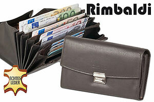 Rimbaldi ® Cuir Serveur Bourse Avec Extra Renforcé Hartgeldfach Dans Marron Foncé-afficher Le Titre D'origine