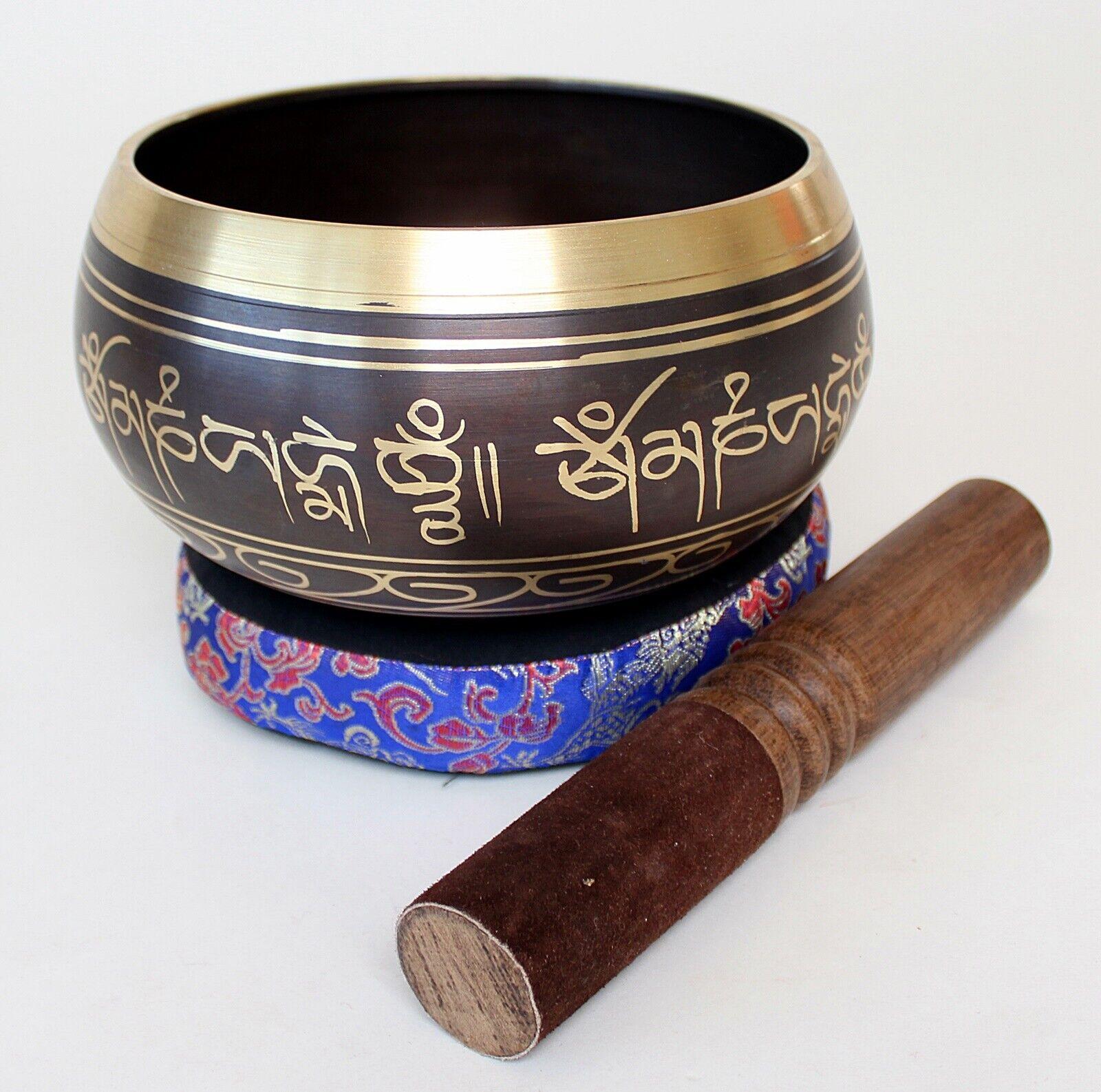 GEGOSSENE MIT 5 BUDDHAS VERZIERTE KLANGSCHALE 1,95 KG TON E MEDITATION YOGA
