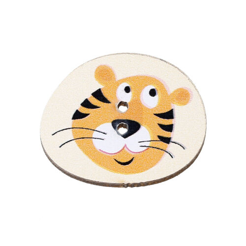SAME DAY FREE POSTAGE 24 x 20 mm 2 HOLES 10 x TIGER FACE WOODEN BUTTONS