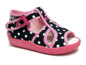 Bebé Niño Chicas De Lona Zapatos Sandalias Niños-puntos blancos (UK 8/EU 25)