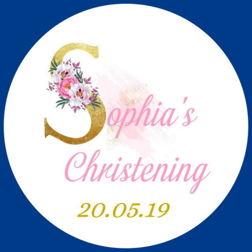 CHRISTENING  SHOWER PERSONALISED GLOSS FAVOUR STICKERS FLORAL LETTER LABELS