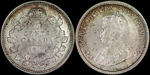 CANADA-5-CENTS-1914-SILVER-CHOICE-ABOUT-UNC-PREMIUM-QUALITY