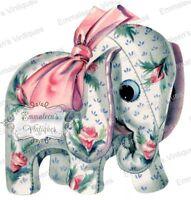 Vintage Image Shabby Nursery Stuffed Elephant Waterslide Decals An745