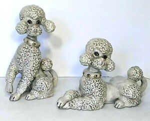 Pair of Large Atlantic Mold Ceramic Gray Poodles with Gold Accented Collar