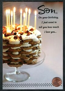 Birthday Cake Of Cookies Frosting Candles Chocolate Son Birthday Greeting Card Ebay