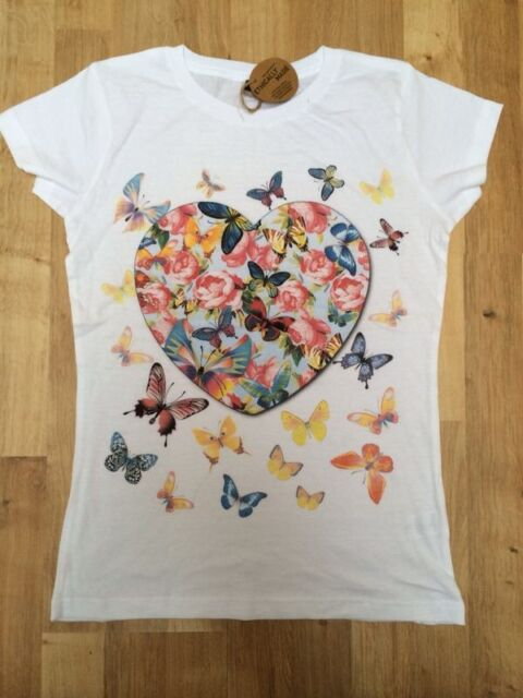 Brand New - Women White T-Shirt With Heart Butterfly Print TSC4