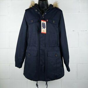 Levi-039-s-Strauss-Parka-Jacket-Women-Size-M-Faux-Fur-Hooded-Navy