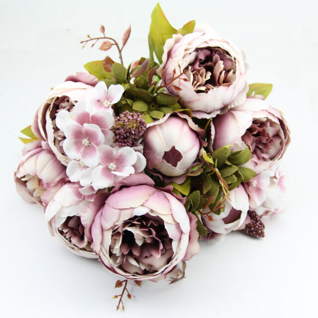 DIY 1 Bouquet Light Pink Vintage Artificial Peony Silk Flower Room Wedding Decor