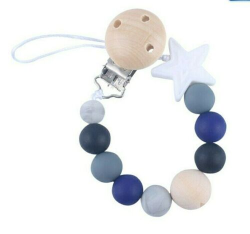 NEW UK Baby Wood /& Silicone Beads Star Handmade Dummy Clip Pacifier Leash