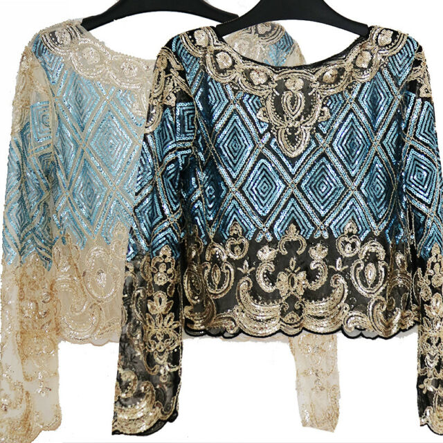 Fashion Bling Tops Mesh Long Sleeve Blouses Embroidery Sequin